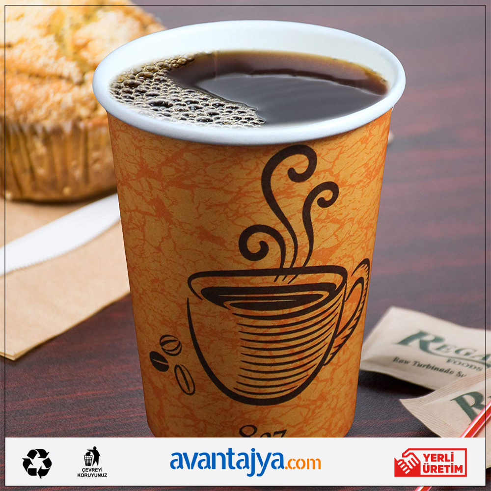 Disposable Paper Coffee Cups - Insulated - with Lids and Sleeves